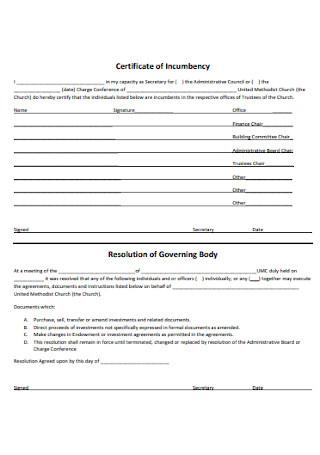 Certificate of Body Incumbency