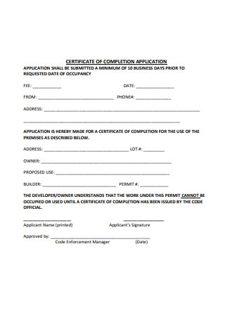 Certificate of Completion Application