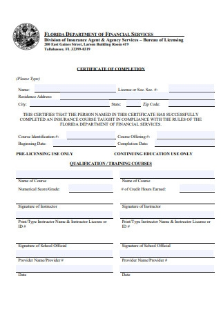 Certificate of Completion Form Template