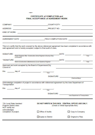 Certificate of Completion Form