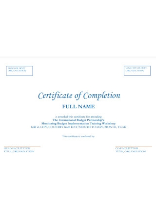 Certificate of Completion for Training