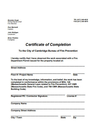Certificate of Completion in PDF Template