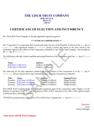 Certificate of Election Incumbency