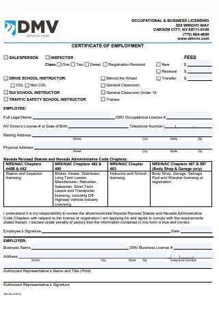 Certificate of Employment Form Template