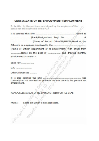 Certificate of Employment Form
