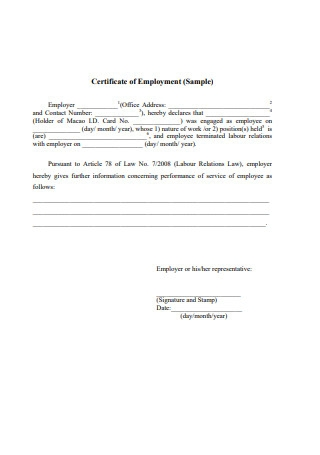 Certificate of Employment Sample1