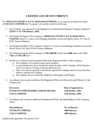 Certificate of Incumbency Format