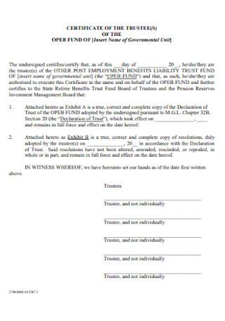 Certificate of Incumbency Trustee