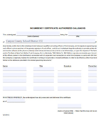Certificate of Incumbency and Authorized Callbacks