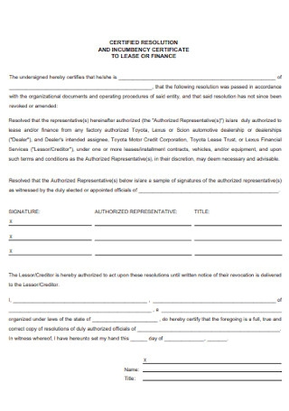 Certificate of Incumbency to Lease or Finance