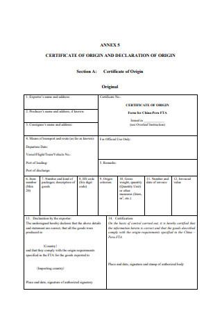 Certificate of Origin and Declartion