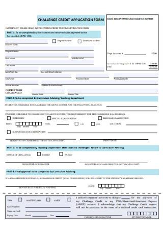 Challenge Credit Application Form