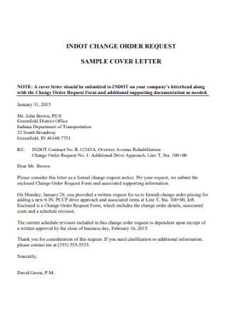 Change Order Cover Letter