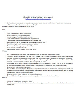 Checklist for Leaving Home Vacant