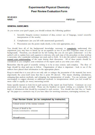 Chemistry Peer Review Evaluation Form