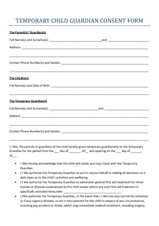 Child Guardian Consent Form