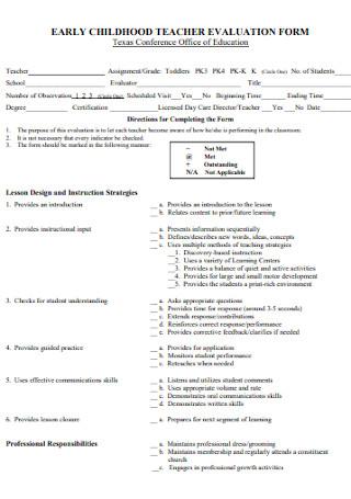 Childhood Teacher Evaluation Form