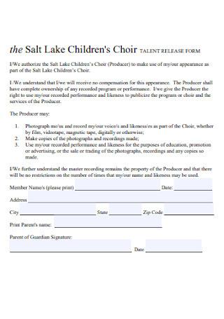 Children Talent Release Form