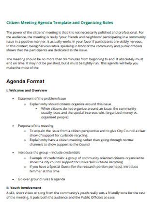 Citizen Meeting Agenda Template