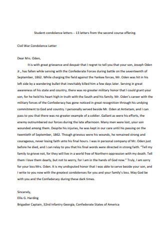 Civil War Condolence Letter