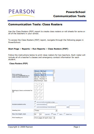 Class Roster in PDF