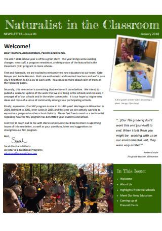 Classroom Newsletter Sample
