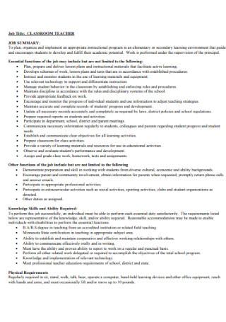 Classroom Teacher Job Discription