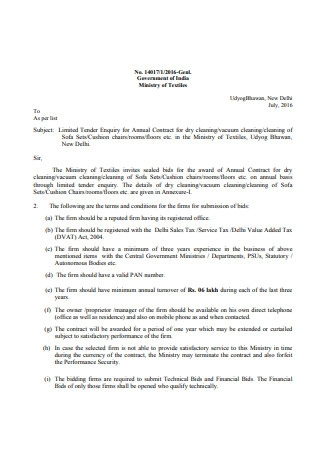 Cleaning Contract Proposal Sample