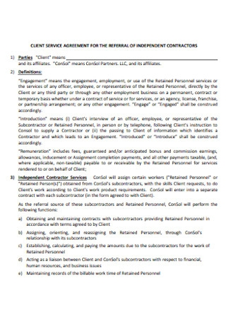 Client Service Referral Agreement