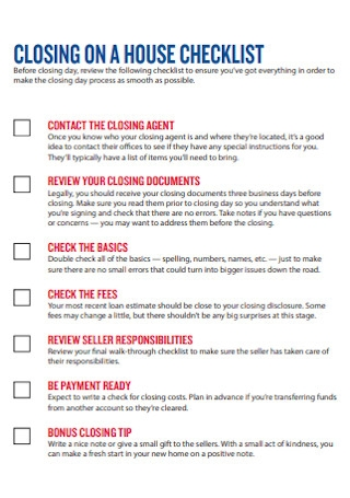 Closing on House Checklist