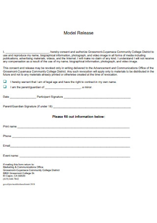 College Model Release Form
