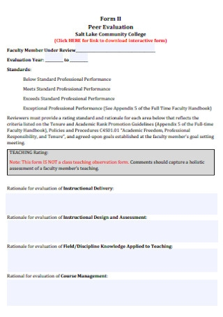 College Peer Evaluation Form