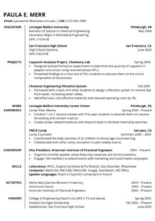 College of Engineering Student Resumes