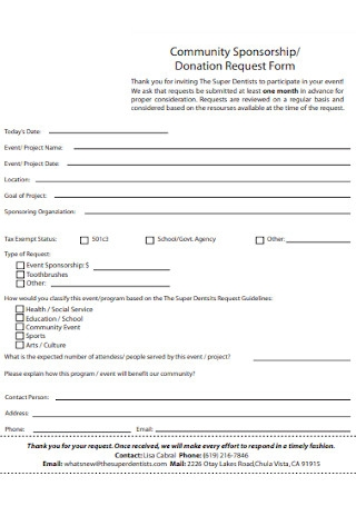 Community Sponsorship Donation Request Form