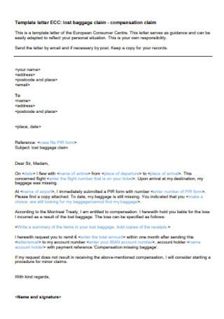 Compensation Claim Letter