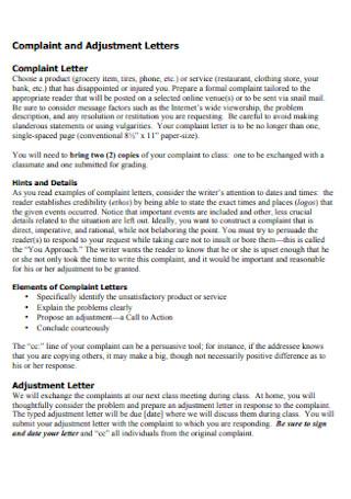 Complaint and Adjustment Letters
