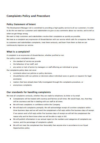 Complaints Policy and Procedure