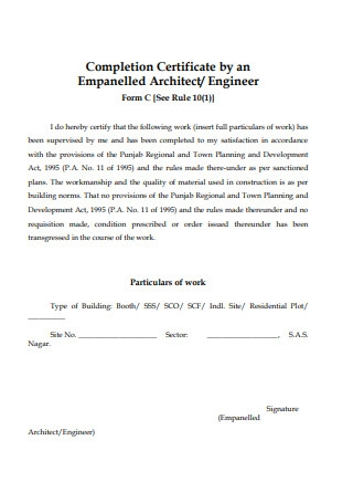Completion Certificate by an Empanelled Architect