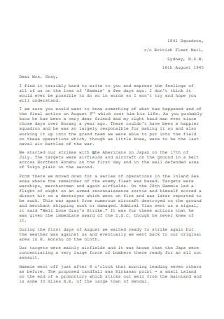 Condolence Letter Format