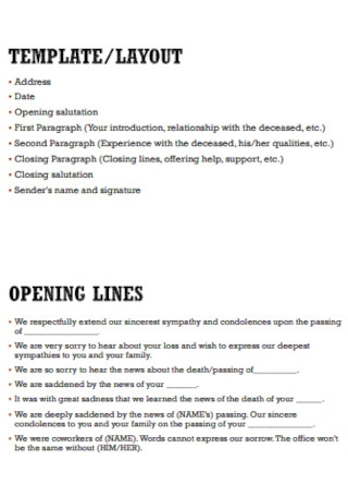 Condolence Letter Layout