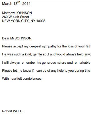 Condolence Letter Sample