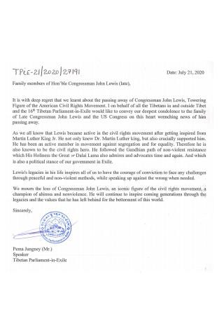 Condolence Sympathy Letter Sample
