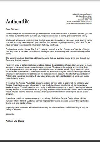 Condolences Letter on Loss