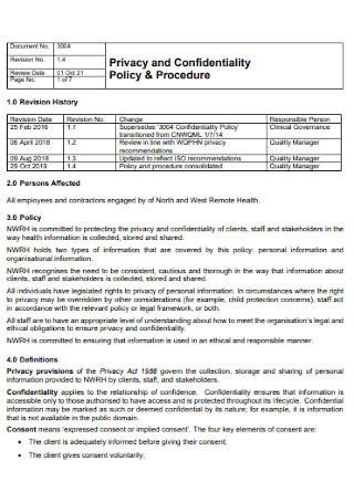 Confidentiality Policy and Procedure