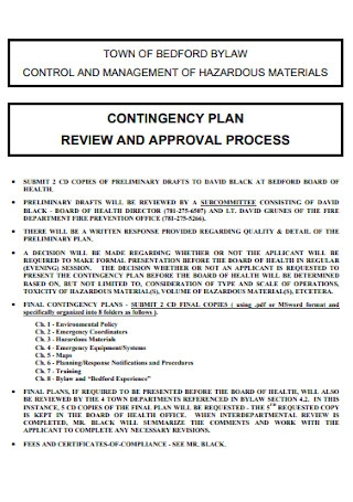 Contingency Plan and Approval Process Template