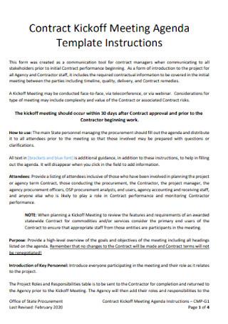Contract Kickoff Meeting Agenda