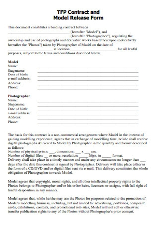 Contract and Model Release Form
