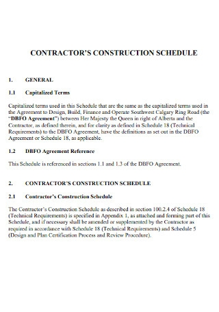 Contractor Construction Schedule