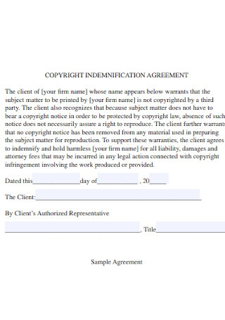 Copyright Indemnification Agreement