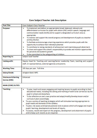 Core Subject Teacher Job Description